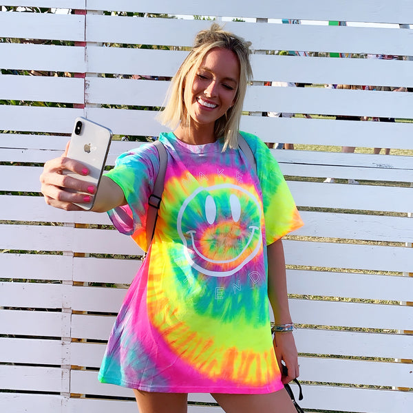 Festy Besty Make Friends T-Shirt Neon Tie Dye