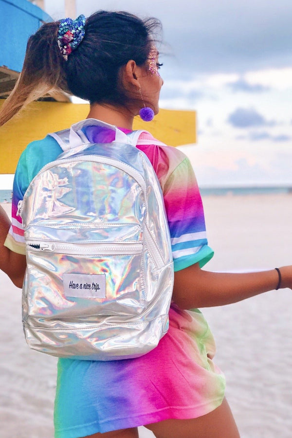 Festy Besty Time Traveler Backpack Silver Holographic