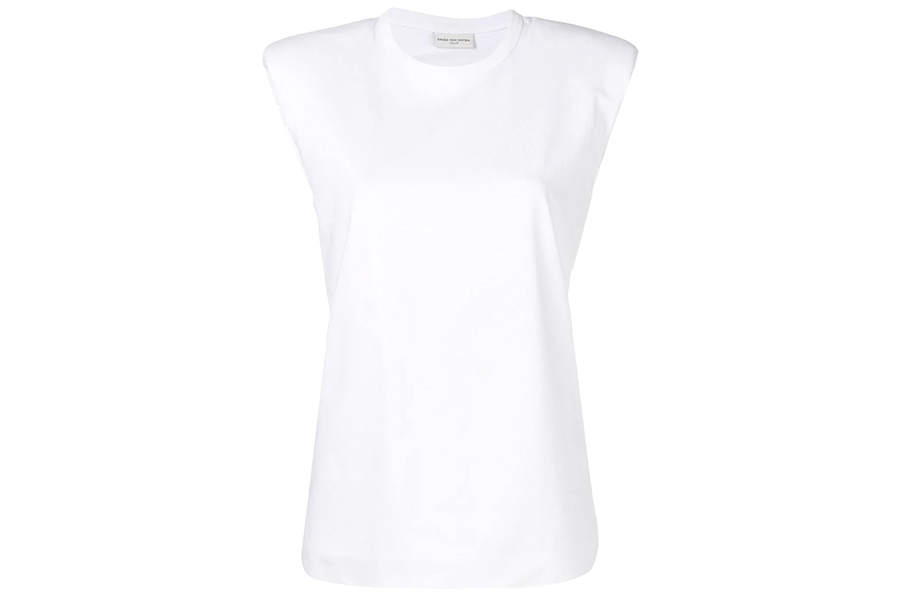 SHOULDER-PADDED COTTON TANK TOP WHITE