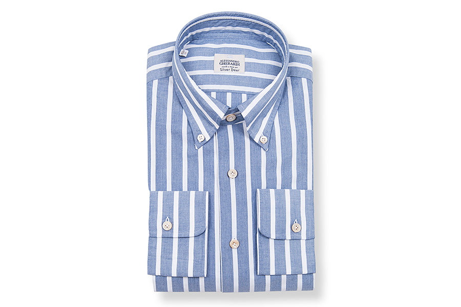 BUTTON DOWN STRIPE SLIM BLUE SHIRT