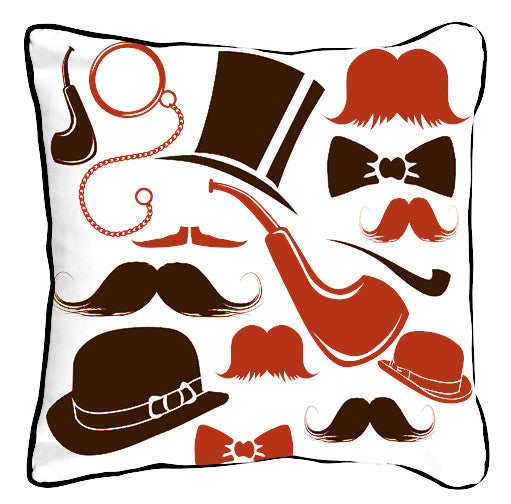 Victorian Mustaches Orange Oatmeal - ModShop1.com