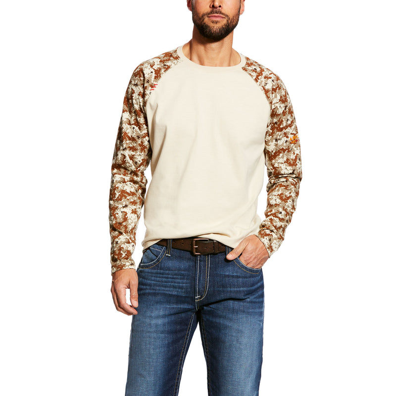 Men's Ariat FR baseball Sand Digi camo shirt Patriotic Edition w/ American Flag on the Sleeve 10023955