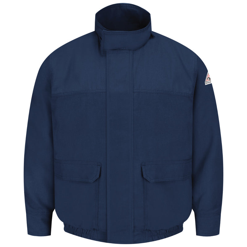 Bulwark FR fire retardant Navy Lined INSULATED Bomber Jacket Coat- CAT 2 - JNJ8NV