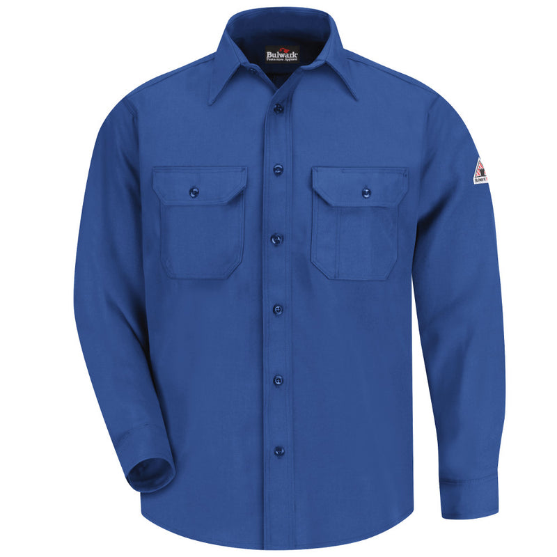 Men's Bulwark FR fire retardant Button-Front Deluxe Shirt in Red and Royal Blue - CAT 1 - SND6