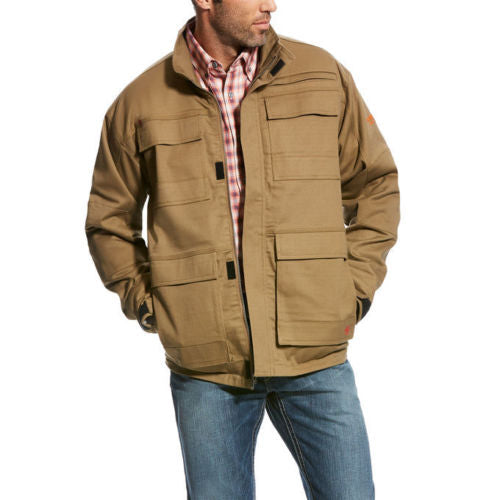 Men's FR Ariat Canvas Stretch Field Khaki Jacket Coat 10023995