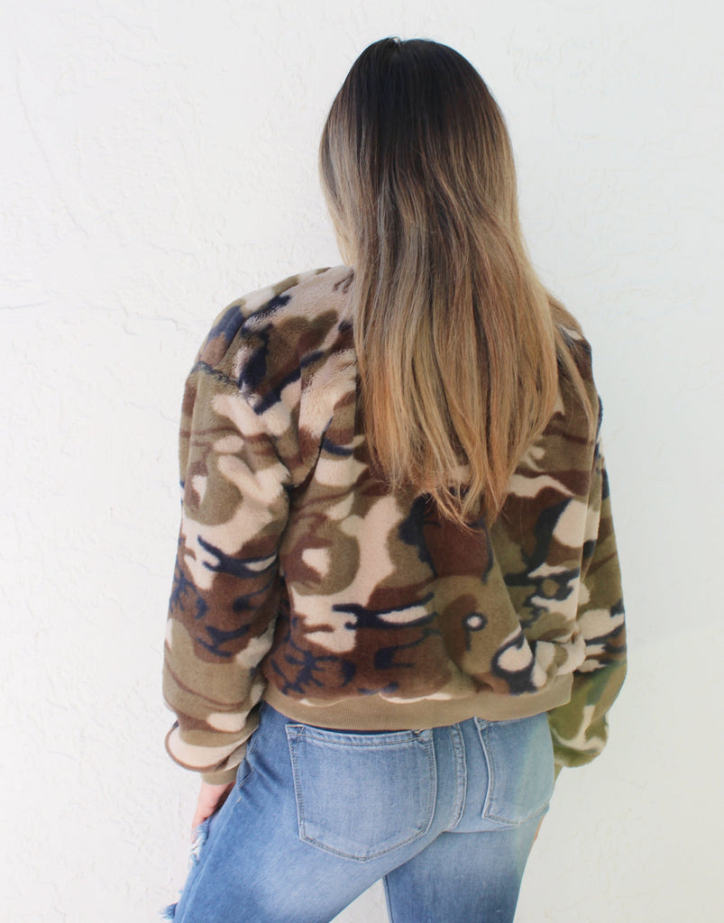 Camo Fuzzy Sweater