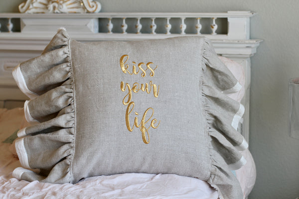 "100% Belgian Linen ""Kiss Your Life"" Pillow Cover"