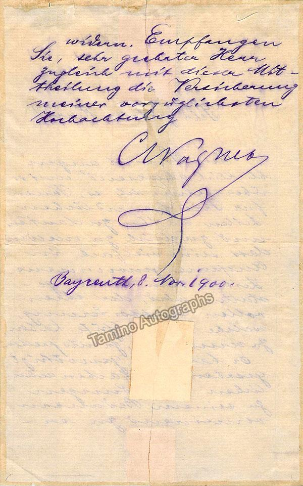 Wagner, Cosima - Autograph Letter Signed 1900