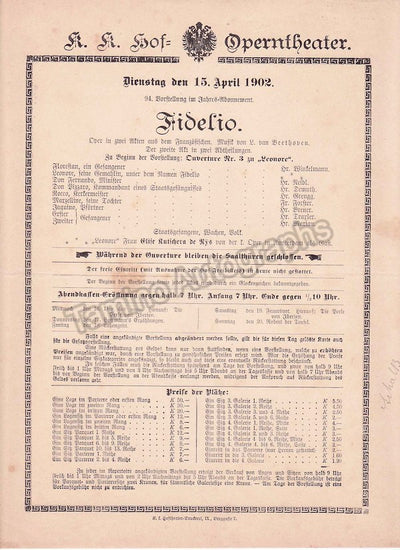 Imperial & Royal Court Opera, Vienna - 8 Playbill Lot 1902