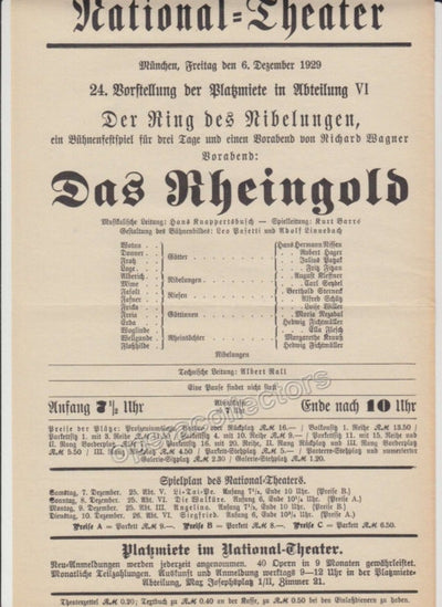 Knappertsbusch, Hand - Munich National Theater Playbills 1920s & 30s
