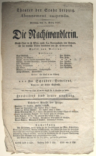 La Sonnambula - Early German Playbill 1837 !