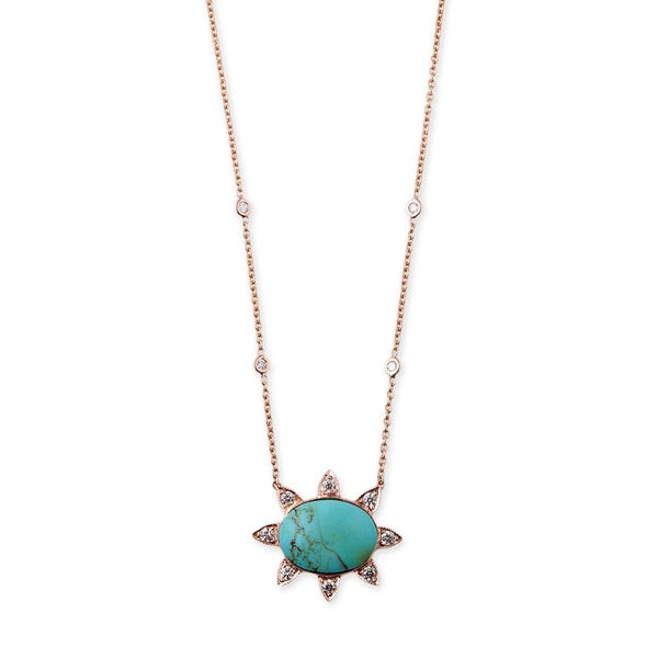 TURQUOISE PAVE DIAMOND SUN NECKLACE