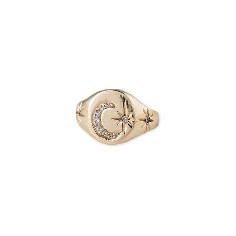 CRESCENT STARBURST SIGNET RING
