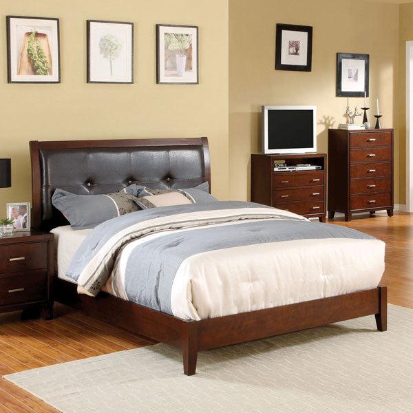 Enrico Traditional Cottage Style Brown Cherry Platform Bed