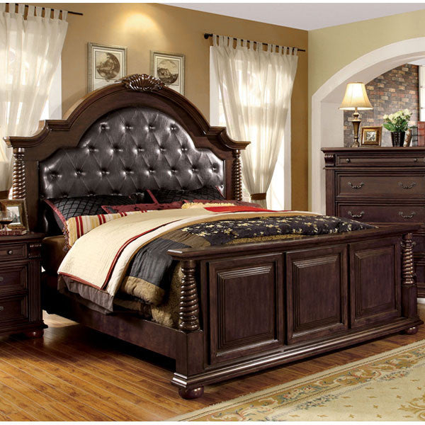 Esperia English Style Leatherette Headboard Brown Cherry Bed