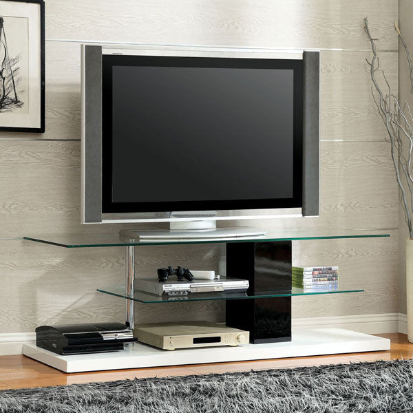 Neapoli Contemporary 60-inch TV Stand, Glossy Black and White