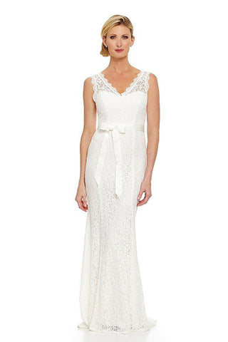 Adrianna Papell Ivory V-neck Lace Wedding Gown