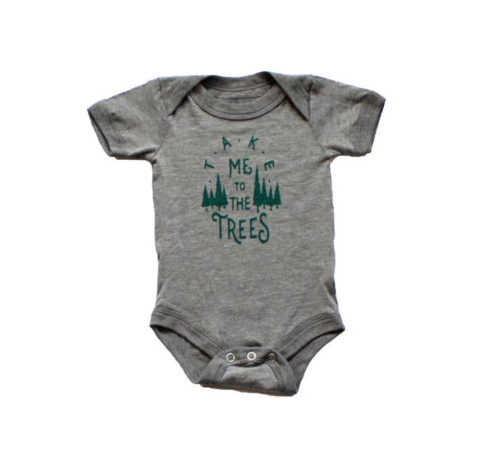 Infant Trees Onesie-Heather Gray