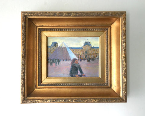 Louvre with Bicyclist Oil Painting by James McPhillips