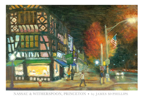"Signed ""Nassau & Witherspoon at Night"" Poster"