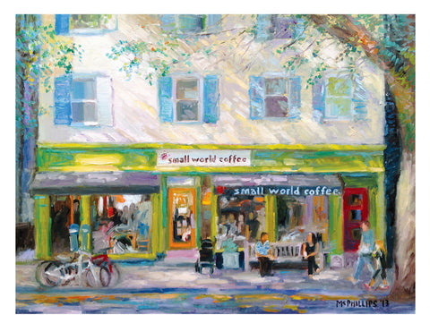 "Signed Limited Edition 11""x14"" Giclee Print of Princeton's Small World Coffee"