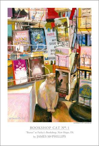 Signed Bookshop Cat No. 1 Poster by James McPhillips