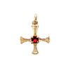 9ct gold st. Cuthbert charm with garnet