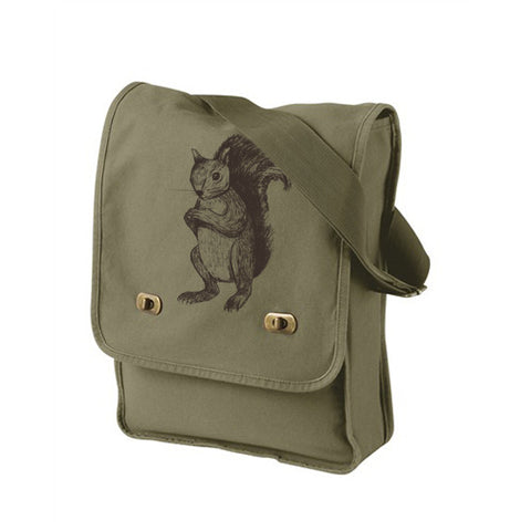 Army Green Squirrel Messenger Bag