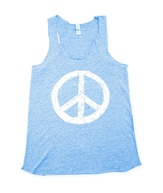 Womens Blue Peace Tank Top
