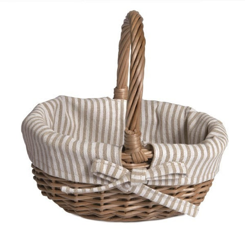 Basket w/ White & Beige Fabric