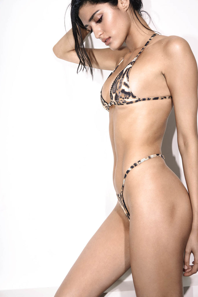 G String Leopard Print Bikini with Lace Details - Side View.