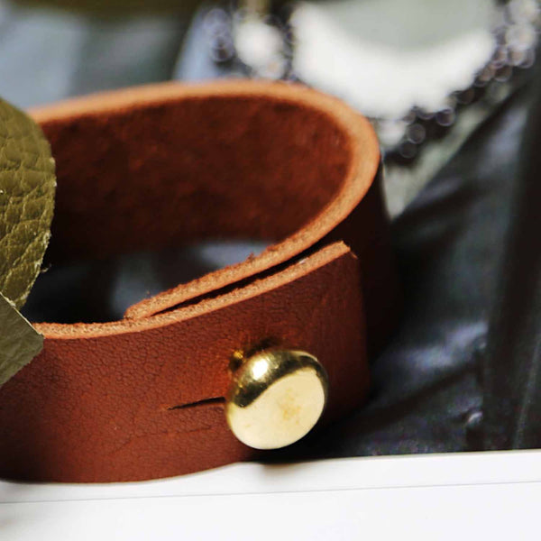 Mens Tan Leather Bracelet With Large Brass Button