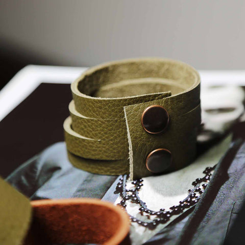 Mens Wide Olive Green Leather Multiple Slit Cuff Bracelet