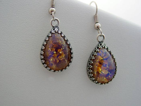 Amethyst Earrings Fire Opal Crown Setting Earrings