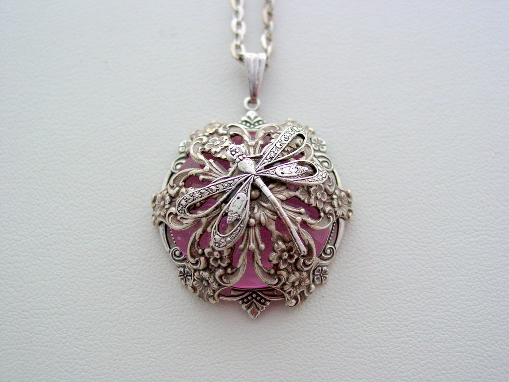 Victorian Dragonfly Necklace Pink Renaissance Layered Crystal Necklace