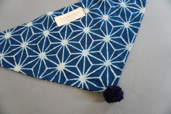 Fetch And Follow Indigo Block Printed Neckerchief Geo Flower with PomPom