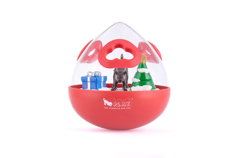 P.L.A.Y. Wobble Ball 2.0 Holiday Edition Red Interactive dog toy