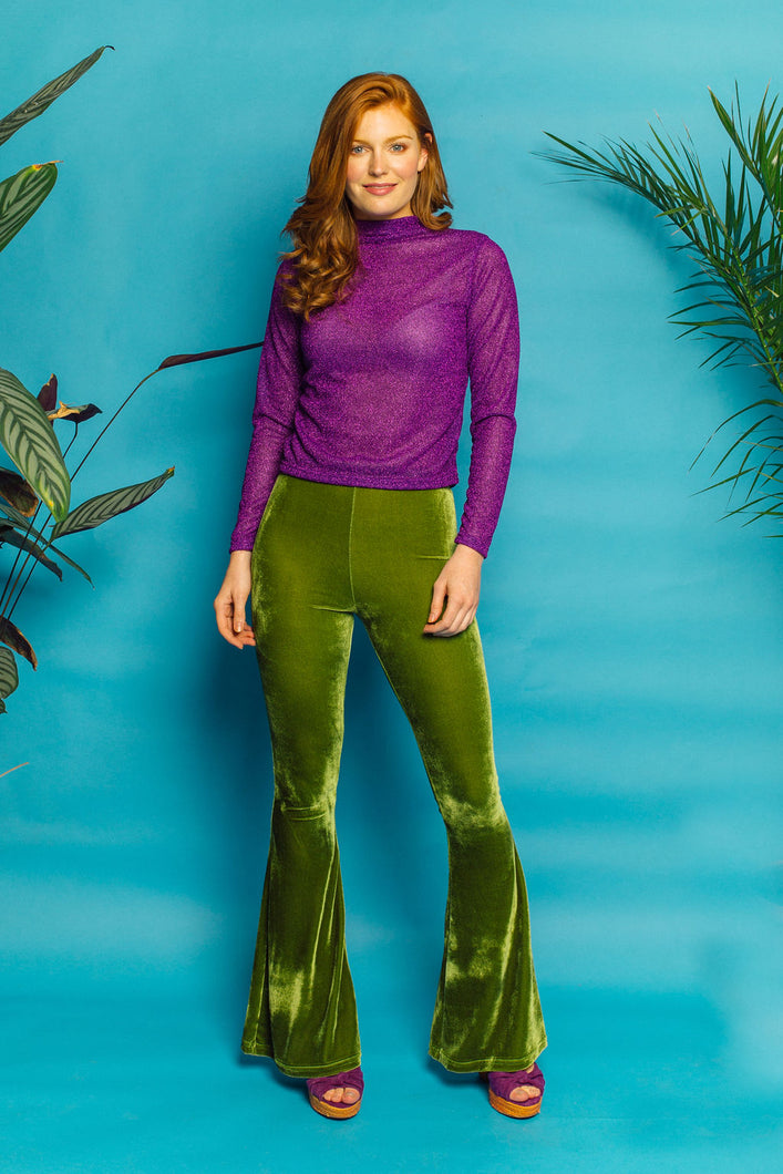 Mock Turtleneck Lurex Long Sleeve Tee- Purple - Top - Megan Crook