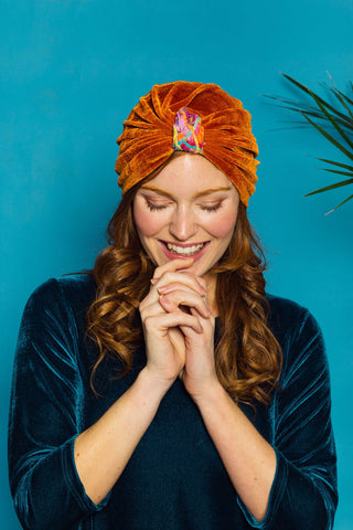 Embellished Velvet Turban in Orange - Accessories - Megan Crook
