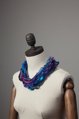 Silk Yarn Necklace in Black and Purple - Necklace - Megan Crook
