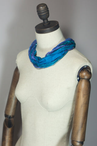 Silk Yarn Necklace in Blue and Turquoise - Necklace - Megan Crook