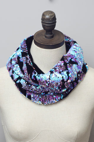 Sequin Embellished Velvet Cowl in Opal - Accessories - Megan Crook