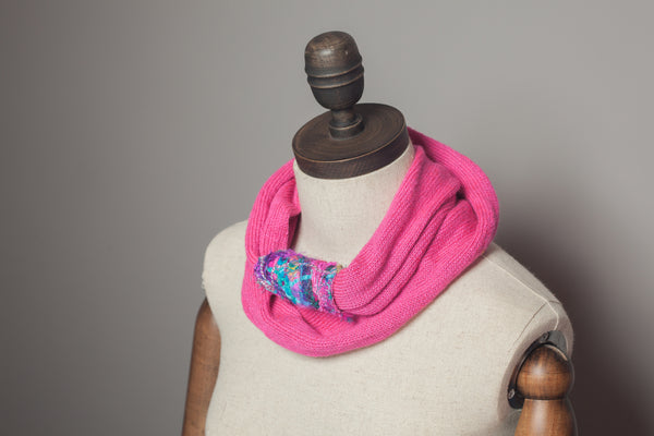 Embellished Cuff Double Wrap Scarf in Bright Pink - Accessories - Megan Crook