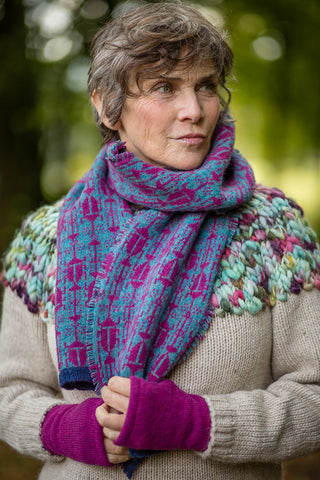 Fair Isle Scarf in Aqua and Berry Beetle Pattern Felted Pure New Wool - Scarf - Megan Crook