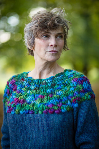 Hand Knit Jumper in Denim Blue Alpaca and Merino Wool - Jumper - Megan Crook