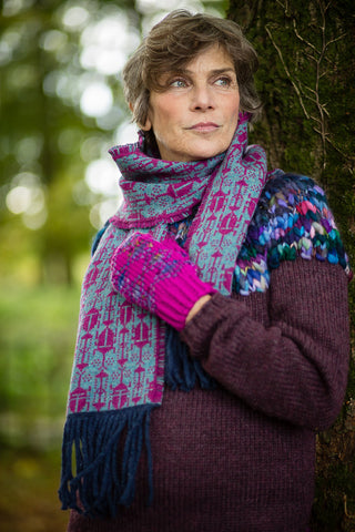 Fair Isle Scarf in Aqua and Berry Beetle Pattern Felted Pure New Wool with Fringing - Scarf - Megan Crook