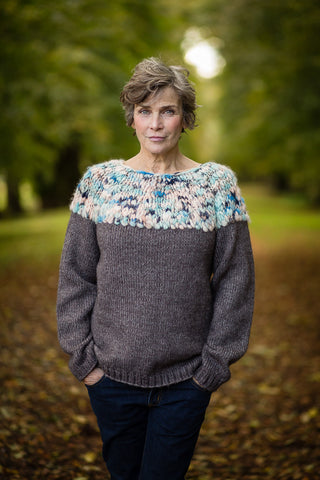 Hand Knit Jumper in Charcoal Alpaca and Merino Wool - Jumper - Megan Crook