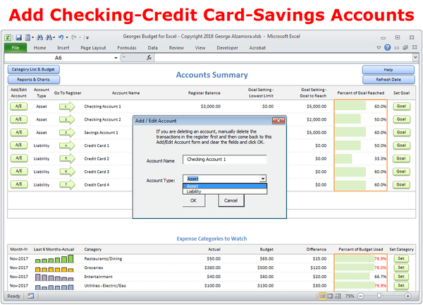 Budget software - add accounts - checking-credit card-savings