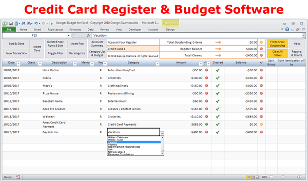 Credit card account register - budget spreadsheet