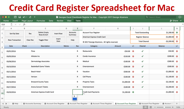 Credit card register software for Mac